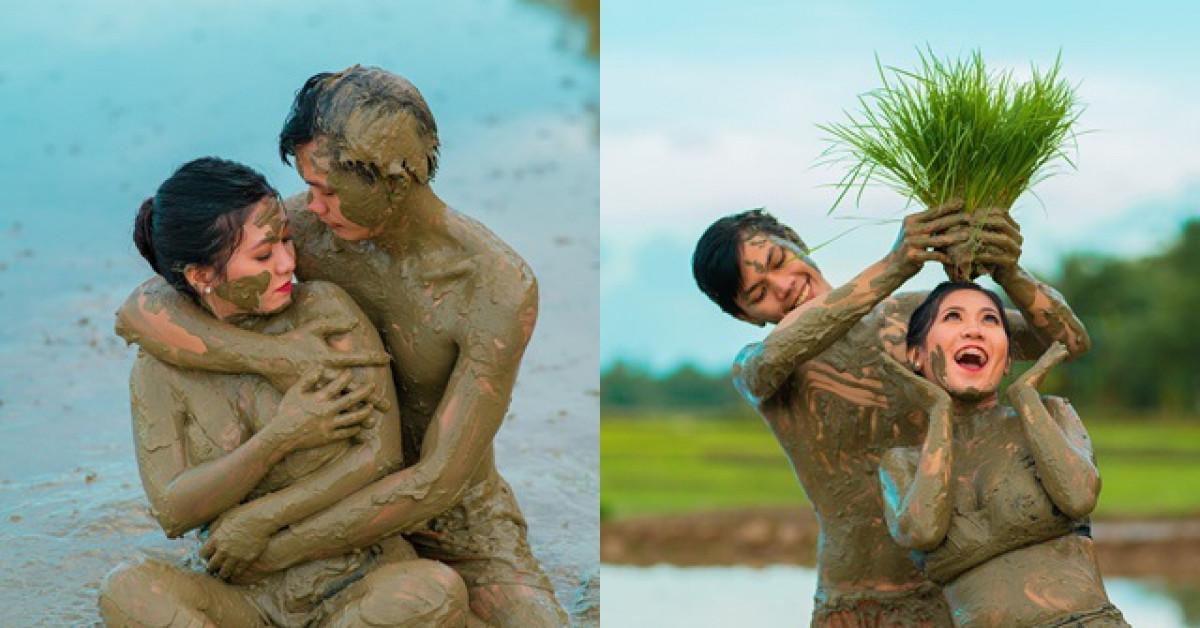 Cô dâu chú rể đằm mình dưới bùn chụp ảnh cưới, bất ngờ hơn khi biết lý do