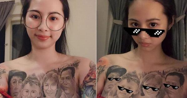 Cô gái Vĩnh Phúc xăm kín ngực bằng bức ảnh chân dung gia đình