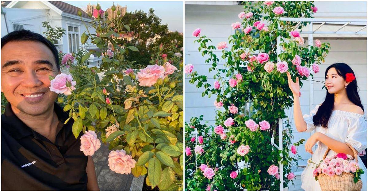 Bà xã Quyền Linh khoe vườn hồng ngập sắc, mọi sự trầm trồ lại đổ vào 2 cô công chúa
