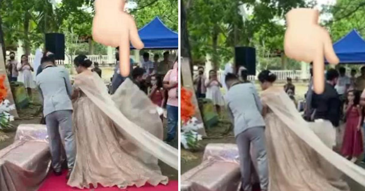 """Clip: Chui ra từ váy cưới cô dâu, người đàn ông khiến ai cũng """"hết hồn"""""""