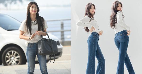 """Nhìn Suzy quảng cáo quần jeans chân dài miên man thấy mê, ngó sang ảnh thật mới biết hóa ra chỉ là """"ánh trăng lừa dối"""""""