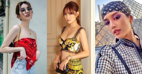 """Ngọc Trinh copy Jennie nhưng lại """"thất thế"""" trước cả Minh Hằng và Khánh Linh khi cùng chế khăn thành trang phục"""
