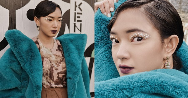 """Dự show Kenzo giữa trời 3 độ C, Châu Bùi lên đồ hơi dìm dáng nhưng may có kiểu makeup """"mắt phủ tuyết"""" bù lại"""